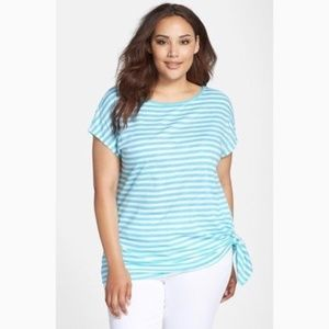 Michael Kors blue & white striped side tie tunic